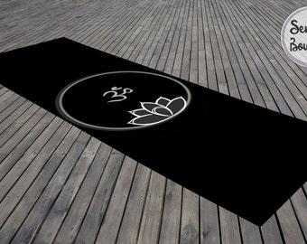 Black Yoga Mat Mandala Ohm Meditation Mat Lotus Bohemian Design Exercise Mat