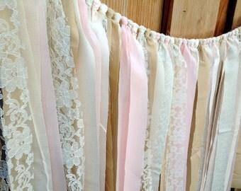 Pink Cream & Tan Rag Tie Garland, Shabby Chic Garland, Fabric Banner, Nursery Decor, Baby Shower Decor, First Birthday Decor
