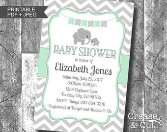 Mint Green and Gray Chevron Elephant Baby Shower Invitation Digital Printable PDF Boy or Girl Gender Neutral Personalized Baby Shower Invite