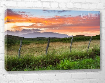 Rural canvas art, stretched canvas, fence photography, barbed wire fence, sunrise sky, lush tropical island print, 5 panel wall art, picture
