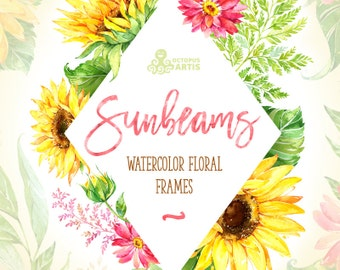 Sunbeams Frames. Watercolor floral clipart, template, invitations, sunflowers, yellow, wedding, greeting card, diy, country, flowers, sunny