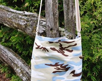 Pale Blue/Brown Camo Shoulder Bag