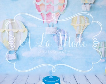 Digital Photography Background 1st Birthday Cake Smash Boy Hot Air Balloons Blue One