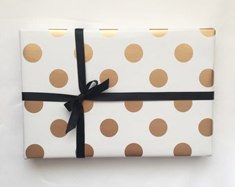 Gold Foil Polka Dot Wrapping Paper - 100cm x 50cm