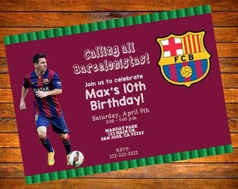 Barcelona FCB Futbol Soccer Personalized Invitation - Digital Download or Printed w Envelopes