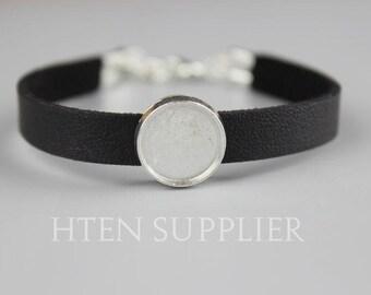 10pcs Silver Adjustable leather Bracelet 12mm Pad settings, 12mm cuff bracelet blank,12mm ...