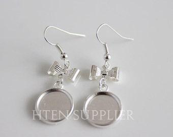 20PCS 12mm Silver antique bronze Bezel Earring Bases Blanks ,12MM Earwires Settings,Silver ...
