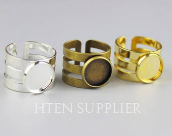 10pcs 3 laps 12mm Round Ring blanks silver/gold/Antique Bronze  12mm Ring Base Setting tray Bezel