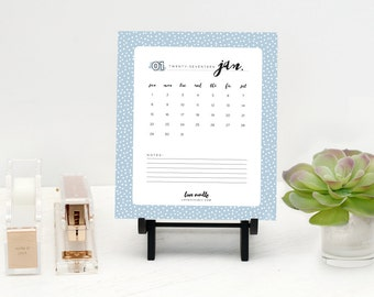2017 Calendar Printable, Desktop Calendar, Colorful Polka Dot Pattern