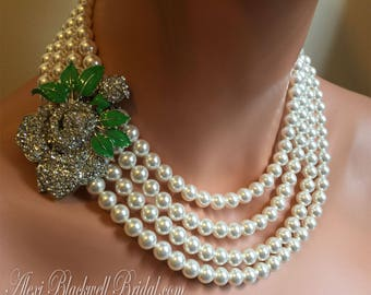Pearl Necklace with Brooch Earrings Set Rhinestone Rose with Mint Green Bridal Jewelry multi strand Swarovski pearls in White or Cream ivory