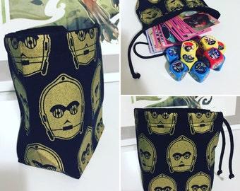 Star Wars Golden C3P0 Drawstring Dice Bag