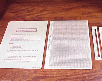 Vintage Knitting Machine Gauge Table, with Instructions, printed in Japan, with 2 slides, no. 1, no. 14