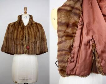1930s Sable Fur Cape / Mink Fur Capelet / Silk Lined / Size Medium / Size Large / 30s Fur Wrap / S M L XL