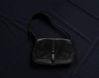 Vintage 90s Gucci by Tom Ford Jackie O Black Leather Shoulder Bag