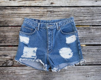 Vintage Gold Rush High Waisted Cut Off Jean Shorts