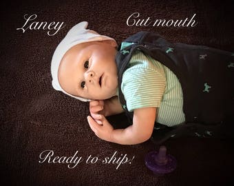 Reborn baby, Laney, cut mouth ready to ship!