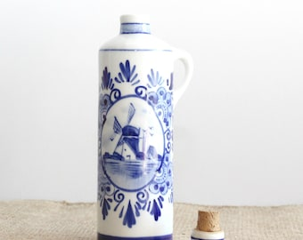 Blue & White Delftware, Blue and White Decanter, Small Bottle With Cork, Made In Holland