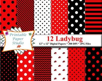 Ladybug Digital Paper Pack, Red & Black Lady Bug Theme Patterned Paper Instant Download, Ladybug Scrapbook Paper 12x12 Digital File