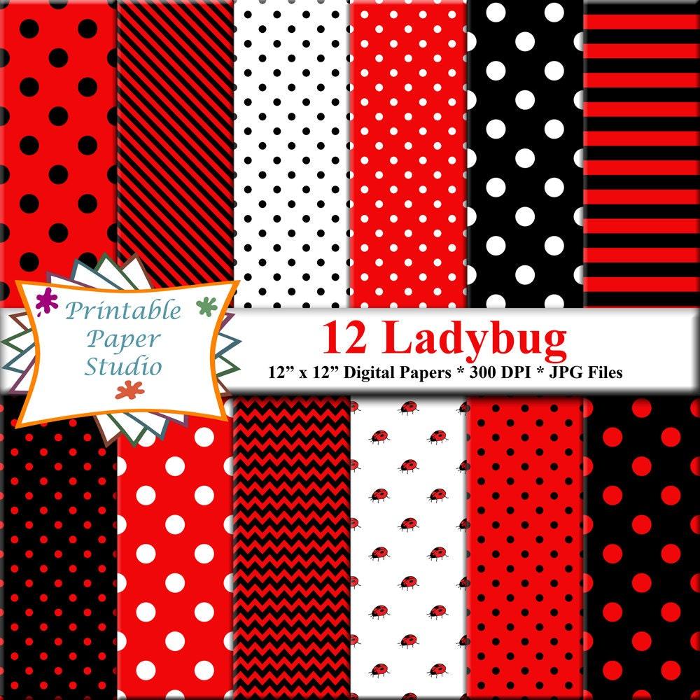 ladybug digital paper ladybug clipart flowers polka dots