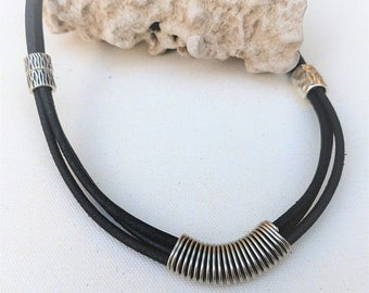 Free Shipping - Black Leather Necklace for Women, Bib Chunky Necklace, Bold Silver Necklace, Classic Jewelry, Multi Layered necklace, Bib Ne