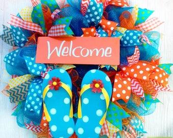 Flip Flop Wreath, Summer Welcome Wreath, Summer Flip Flop Wreath, Welcome Wreath, Summer Deco Mesh Wreath, Polka Dot Wreath, Summer Decor