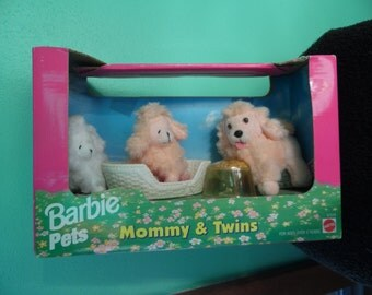 Mattel Barbie Mommy and Twins Dogs/ Barbie Dogs/ Vintage Barbie Pets/ Poddle Dogs Rare