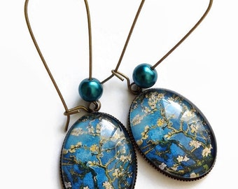 Earrings * almond blossoms - Van Gogh * Painting blue beige art flowers, glass cabochons