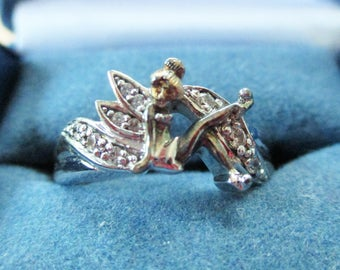 Disney Sterling and 14k Tinkerbell Ring by Bradford Exchange Size 9.5