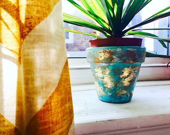 Distressed Turquoise and Gold Leaf Terracotta Planter / Terracotta Pot / Indoor Planter / Indoor Garden / Centerpiece