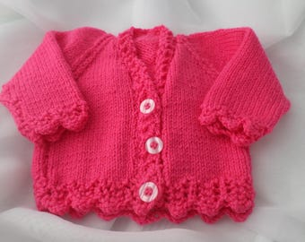 Hand knitted pink baby girl cardigan 0-3 months