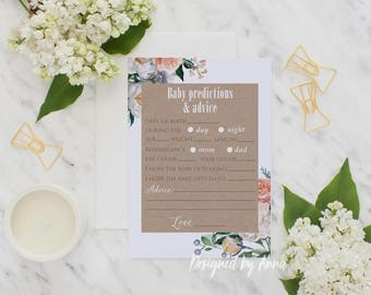 Botanical baby shower predictions printable game flowers craft paper predictions party printable baby shower games floral rustic games