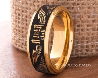 Tungsten Wedding Band,Yellow Tungsten,Bikers Ring,Tattoo Ring,Tungsten Band,Mens Tungsten Ring,Motorcycle Ring,Custom Ring,Anniversary Ring