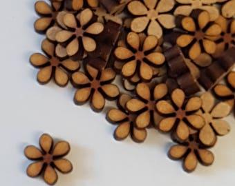 MDF Flower D 1cm/10mm x 3mm - 50 x Laser cut wooden shape