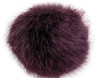 Pom Pom fake fur 10 cm diameter in colour aubergine/dark purple for crazy hats as keyring or for your mirror in the car pompom multipurpos