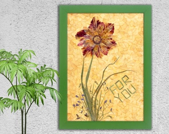 Anniversary Gift, Dried Flowers, yellow, pink, Birthday gift, Dried Flower, I Love Wou Flowers, Floral, Pressed Flowers, Heart, Love