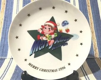 Vintage Christmas Plate 1996 Milky Candy Peko Chan