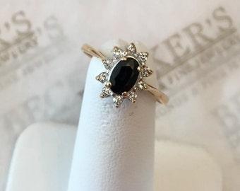 Vintage 14k Oval Blue Sapphire and 10 Diamond Halo 'Princess Diana' Ring .77 tw IJ-I1, size 6.5