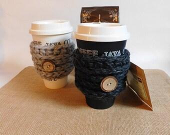 Handmade Crochet Coffee Cozy.Coffee sleeve. Tea Cup sleeve. Coffee cozy. Coffee cozy with buttons