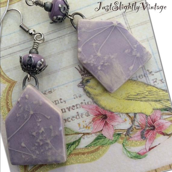 Lavender Fields..Romantic Boho, Handcrafted, Stoneware, Artisan, Minimalist, Lilic Purple, OOAK, VintageStyle, JustSlightlyVintage