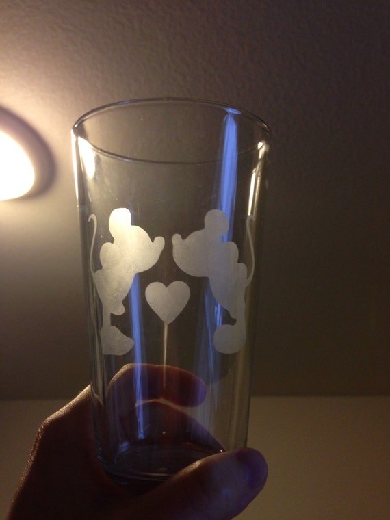 Glass etched Mickey and Minnie tumbler