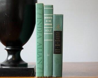 Green Books, Vintage Books, Decorative Books, Antique, Vintage Collection, Book Décor, Wedding Decor, Home Decor, Centerpiece, Office Décor