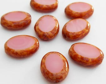 10 - Pink Picasso 12x9mm Oval Glass Beads, Opaque, Czech Glass Beads, Table Cut, Monkeyshine Beads