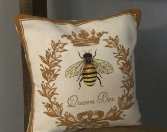 Queen Bee Canvas Decorative Accent Pillow  # Honey Bee # Bee Hive # Decoration  # Decorative # Farm # Gift # Farmer  # Pillow # Decoration #