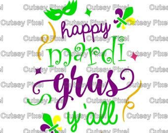 Happy mardi gras svg, cutting file, mardi gras svg, mask dxf, DXF, Cricut Design Space, Silhouette Studio, Cut Files, sayings, sayings svg