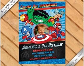 50% OFF SALE - Comic Superheroes Birthday photo Invitation, Super Heroes invitation digital printable.