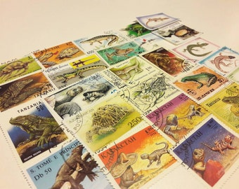 25 Reptiles, Lizards and Turtles Postage Stamps. Worldwide
