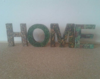 Decoupage 'home' freestanding letters