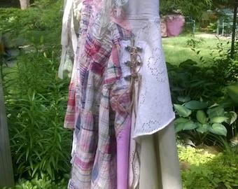 Boho skirt, fairy skirt, art skirt, hippie  skirt, upcycled skirt,tattered skirt,lace skirt, mori girl skirt, jean skirt,altered  skirt