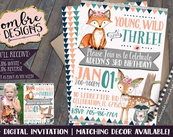 Girl Woodland Birthday Invitation, Birthday Invite, Young Wild and Three, Third Birthday, Woodland Party, 1st, 2nd, 3rd, Woodland Party
