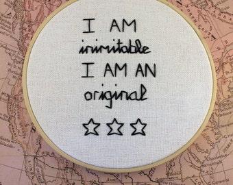 Hamilton Musical Quote Embroidery